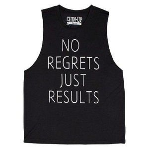 Chin Up No Regrets Just Results Flowy Tank Top